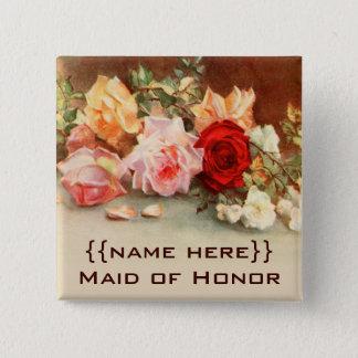 Bloemen van de Rozen van het vintage Kenteken van Vierkante Button 5,1 Cm