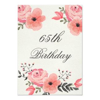 bloemen van de Waterverf van de 65ste Verjaardag 12,7x17,8 Uitnodiging Kaart