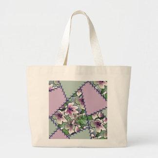 Bloemen van de Zak van het lapwerk paarse en groen Canvas Tas