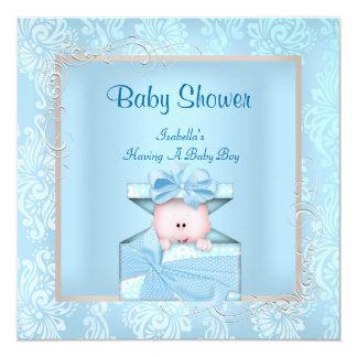 Bloemen van het Baby shower van de Jongen van het 13,3x13,3 Vierkante Uitnodiging Kaart