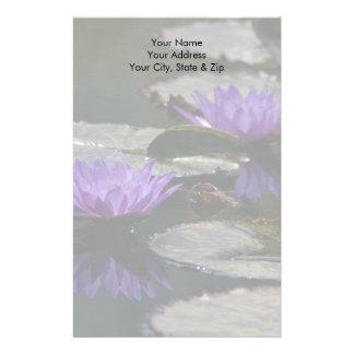 Bloemen van Lotus Waterlily van het kobalt de Briefpapier