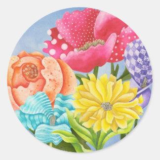 Bloemen Vijf Ronde Sticker