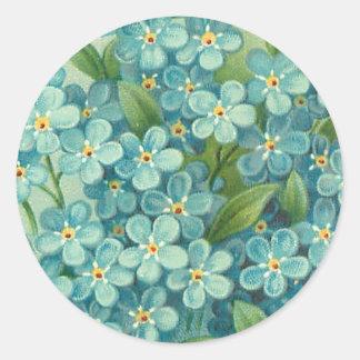 Bloemen vintage sticker met blauwe