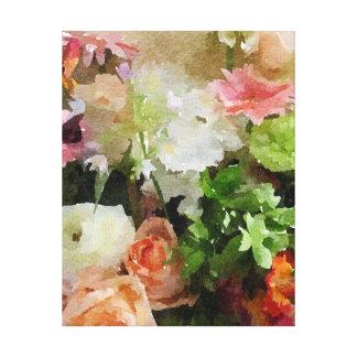 Bloemen Waterverf in Perzik & Groen Canvas Print