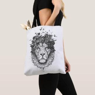 Bloemen (zwart-witte) leeuw draagtas