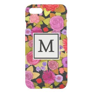 Bloemen Zwarte Ongewone iPhone 7 van het monogram iPhone 7 Hoesje