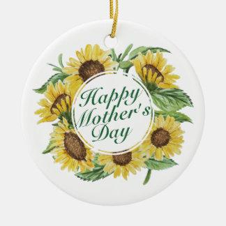 BloemenOrnament van het Moederdag van zonnebloemen Rond Keramisch Ornament