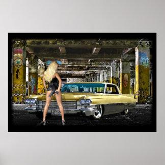 blond, pistool, cadillac poster