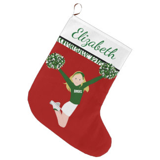 Blonde Cheerleader in Groen en Wit Grote Kerstsok