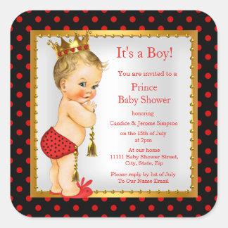 Blonde van de Jongen van het Baby shower van de Vierkant Sticker