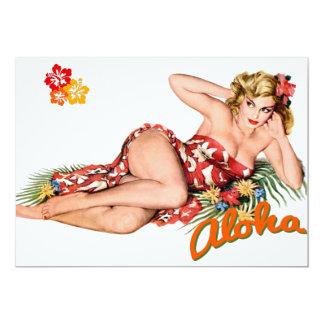 Blonde van het Eiland van het Meisje van Pinup de 12,7x17,8 Uitnodiging Kaart