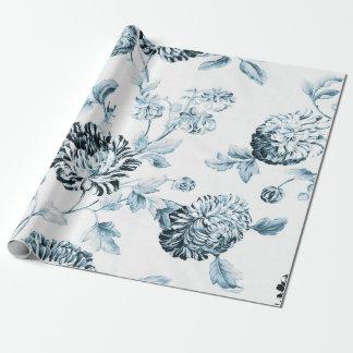 Bloos Blauwe & Witte Vintage Botanische Cadeaupapier