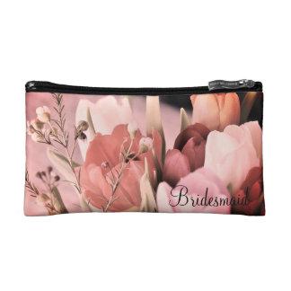 Bloos de Roze Zak van het Boeket van Tulpen Bruids Make-up Bag