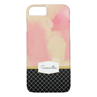 Bloos en het Gouden Zwarte Accent van de Waterverf iPhone 8/7 Hoesje
