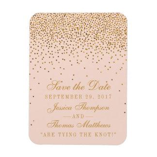 Bloos het Roze & Gouden Huwelijk van Confettien Magneet