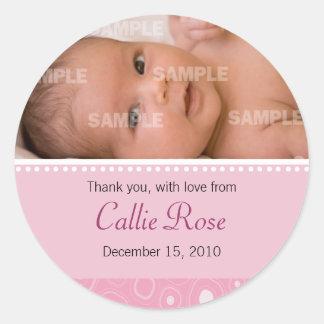 Bloos het Roze Gumdrop Bericht van het Baby Ronde Stickers