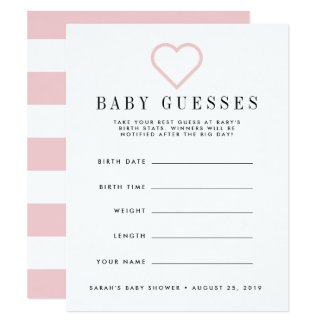 Bloos Roze Baby shower Veronderstellend Spel Kaart