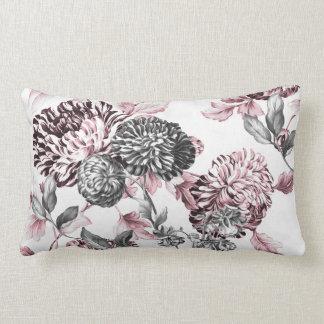 Bloos Roze Zwarte & Witte Botanische Toile Lumbar Kussen