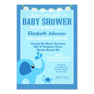 Blue Mama and Baby Elephant Baby Shower Invitation 12,7x17,8 Uitnodiging Kaart