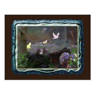 bluebellfield met eenhoorns briefkaart