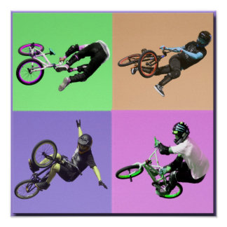 BMX Extreem Pop-art, Copyright Karen J Williams Poster