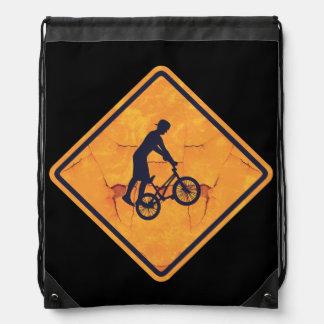 BMX voorzichtigheidsteken Trekkoord Rugzakje