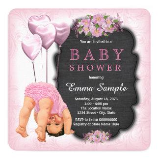 Bodems van het Bord van meisjes de Roze op Baby 13,3x13,3 Vierkante Uitnodiging Kaart