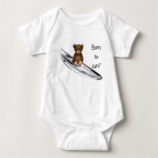 "Body witte baby ""Born to surf"" met nounours Romper"