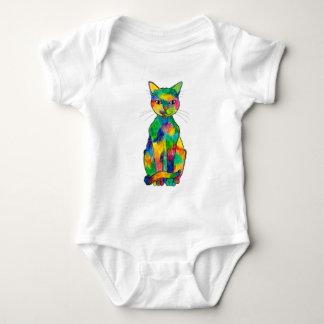 Bodysuit van het Baby van de Kat van de regenboog