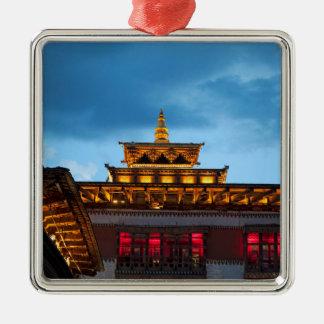 Boeddhistisch Dak Dzong Zilverkleurig Vierkant Ornament
