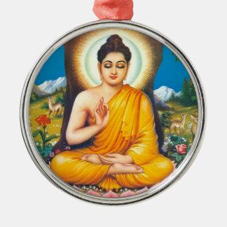 Boeddhistisch Zilverkleurig Rond Ornament