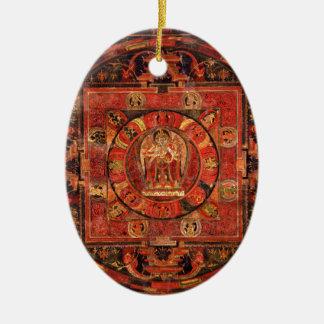 Boeddhistische Mandala van Medeleven Keramisch Ovaal Ornament