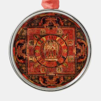 Boeddhistische Mandala van Medeleven Zilverkleurig Rond Ornament