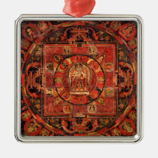 Boeddhistische Mandala van Medeleven Zilverkleurig Vierkant Ornament