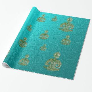 Boedha in blauw cadeaupapier