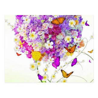 Boeket van Bloemen en Vlinders Briefkaart