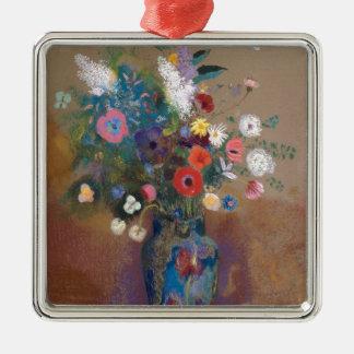Boeket van Bloemen - Odilon Redon Zilverkleurig Vierkant Ornament