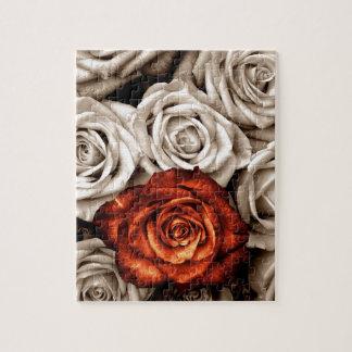 Boeket van witte en Rode rozen Legpuzzel