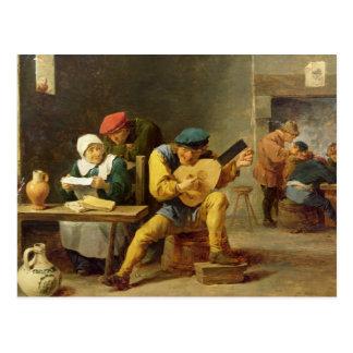Boeren die Muziek in een Herberg maken, c.1635 Briefkaart