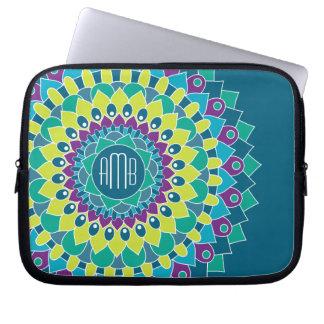 Boheemse Bloem met Monogrammen Laptop Sleeve