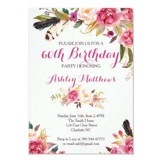 bohemain de BloemenUitnodiging van de Verjaardag 12,7x17,8 Uitnodiging Kaart