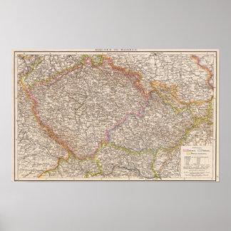 Bohmen, de Kaart van de Atlas Mahren Poster
