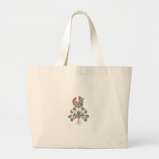 Boho-elegant, etnisch, volkskuiken op bloem canvas tas