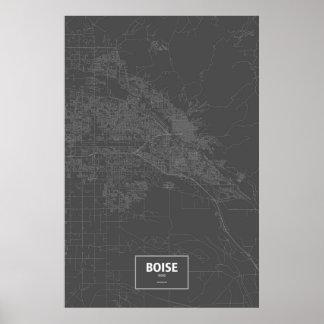 Boise, wit Idaho (op zwarte) Poster