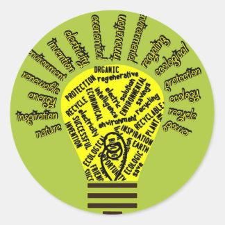 Bol met ecologische termijnen ronde sticker