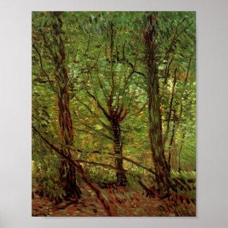 Bomen en Undergrowth Van Gogh Fine Art. Poster