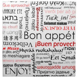 Bon appetit in verschillende talen - rood katoenen servet