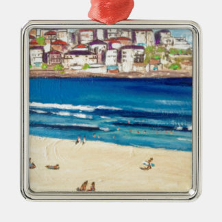 Bondi Views'17 Zilverkleurig Vierkant Ornament