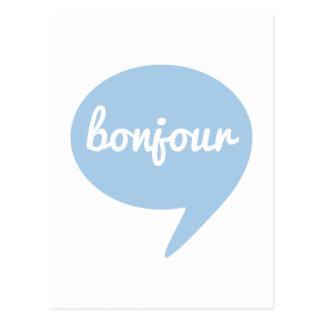 bonjour blauwe toespraakbel, Frans woordart. Briefkaart