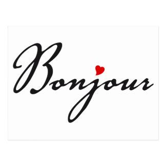Bonjour, Franse woordkunst met rood hart Briefkaart